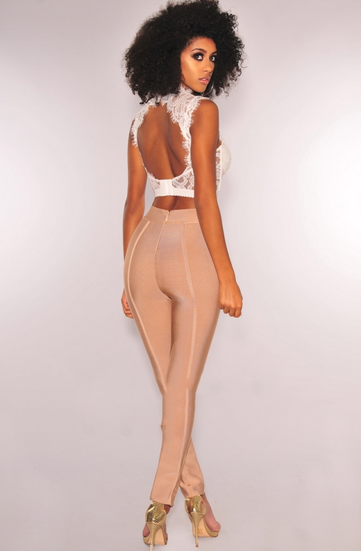 White Lace Strappy Bustier Crop Top 4