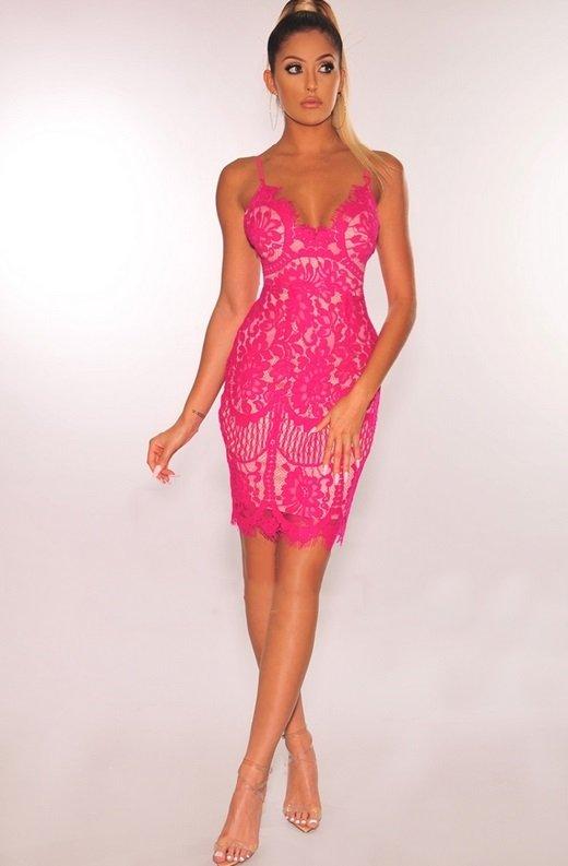 Fuchsia Nude Illusion Lace Dress 1