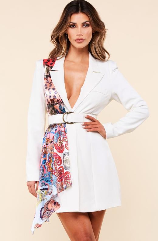 Ivory Floral Scarf Blazer Belted Dress 1
