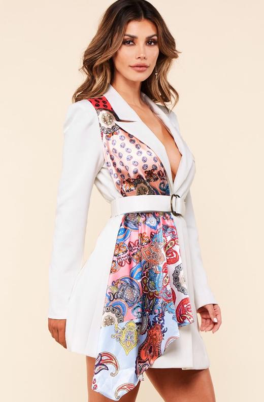 Ivory Floral Scarf Blazer Belted Dress 2