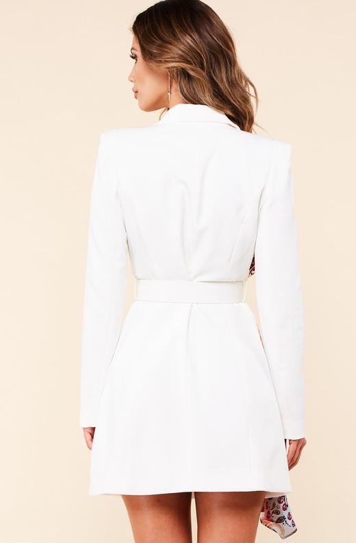 Ivory Floral Scarf Blazer Belted Dress 3