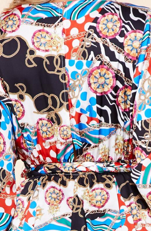 Navy Chain Smocked Textured Skater Dress 5