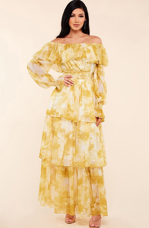 Yellow Marble Print Off Shoulder Maxi Dress 3