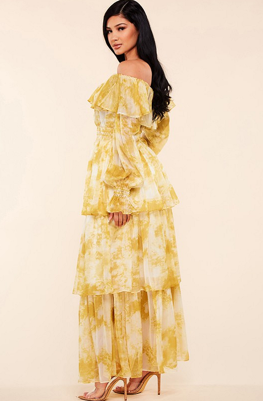 Yellow Marble Print Off Shoulder Maxi Dress 4