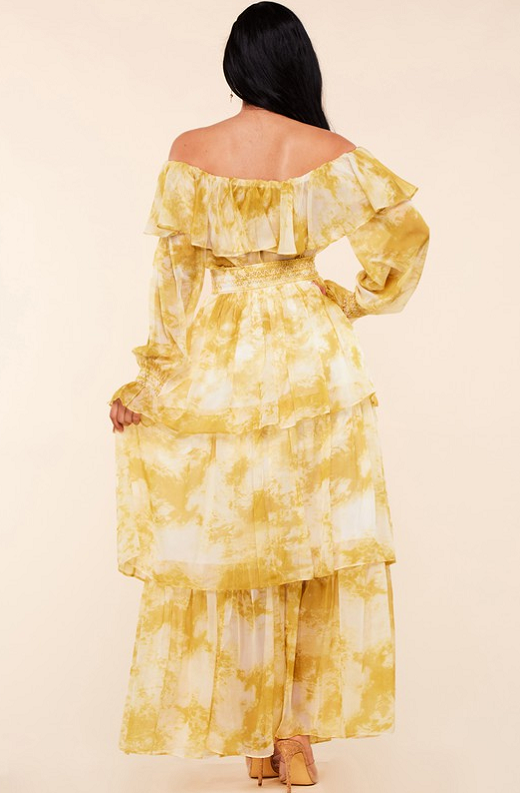 Yellow Marble Print Off Shoulder Maxi Dress 5