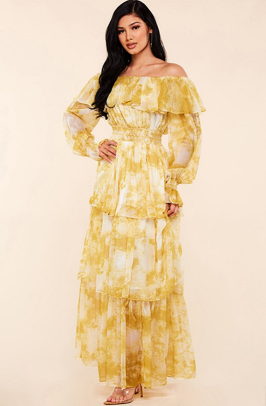 Yellow Marble Print Off Shoulder Maxi Dress 7