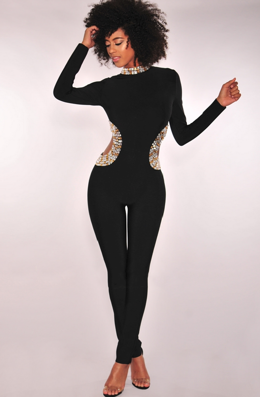 Black Bandage Rhinestone Hourglass Cut Out Jumpsuit 1