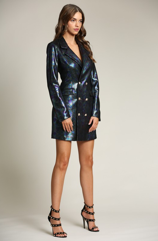 Black Faux Leather Oil Spill Iridescent Blazer Dress 5