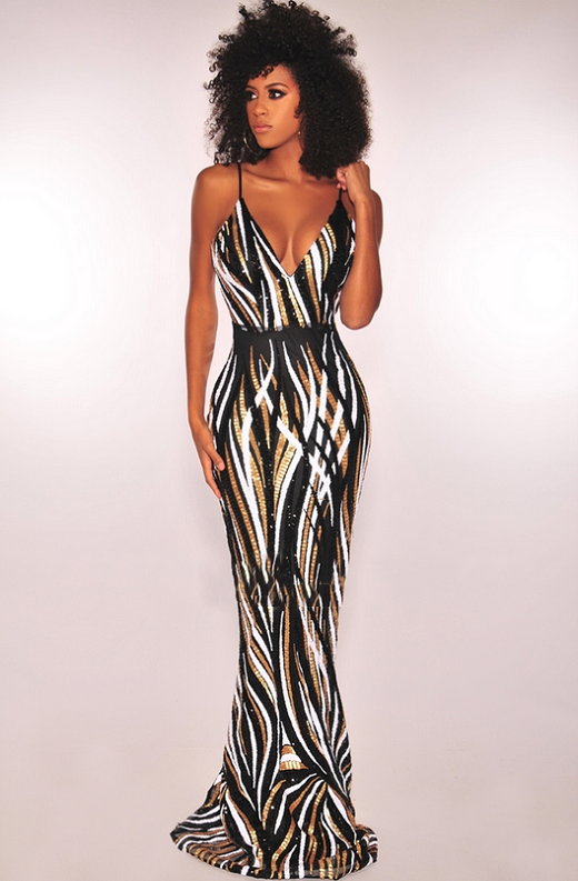 Black Gold White Sequins Padded Mermaid Gown 1