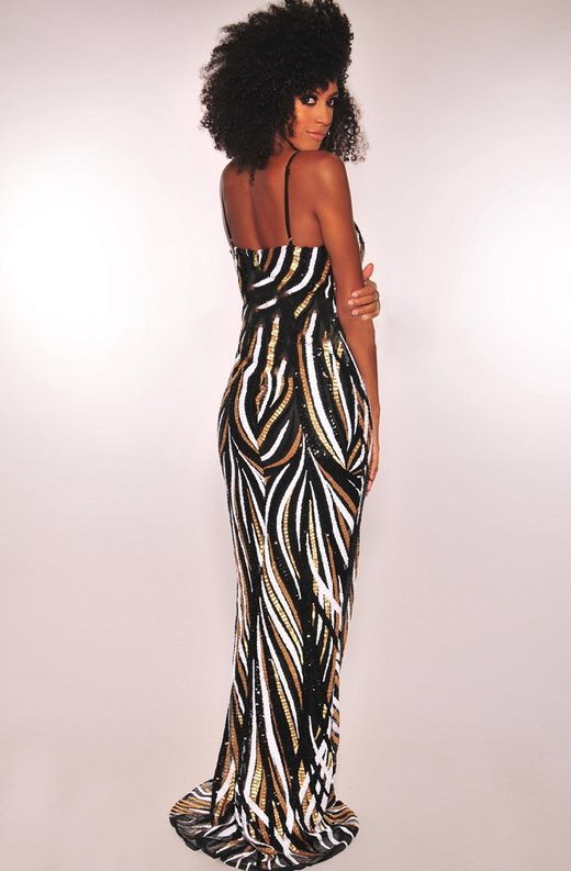 Black-Gold-White-Sequins-Padded-Mermaid-Gown-3