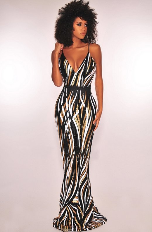Black-Gold-White-Sequins-Padded-Mermaid-Gown-5