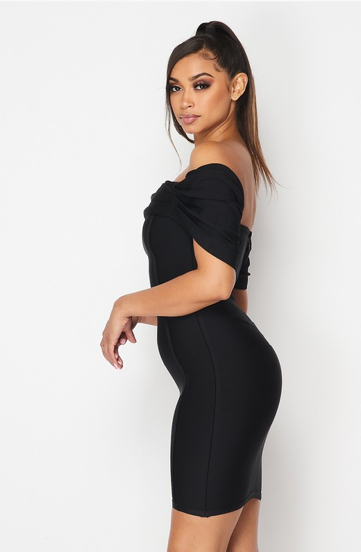 Black Ribbed Bodycon Off Shoulder Hourglass Dress 2