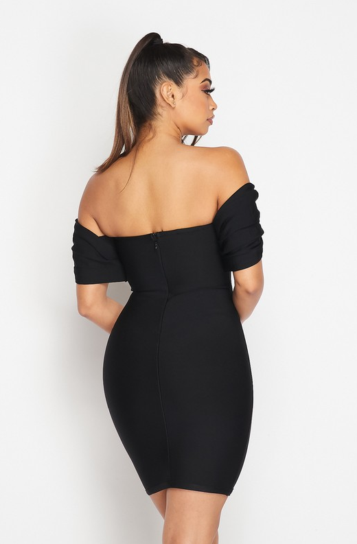 Black Ribbed Bodycon Off Shoulder Hourglass Dress 4