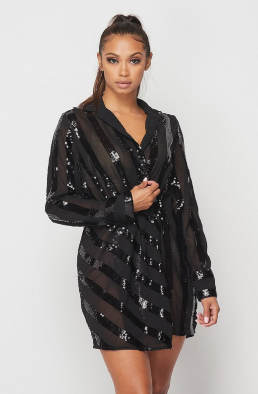Black Sheer Mesh Striped Sequin Dress 3