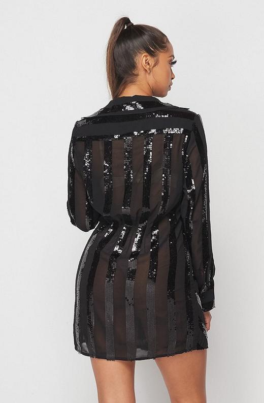 Black Sheer Mesh Striped Sequin Dress 4