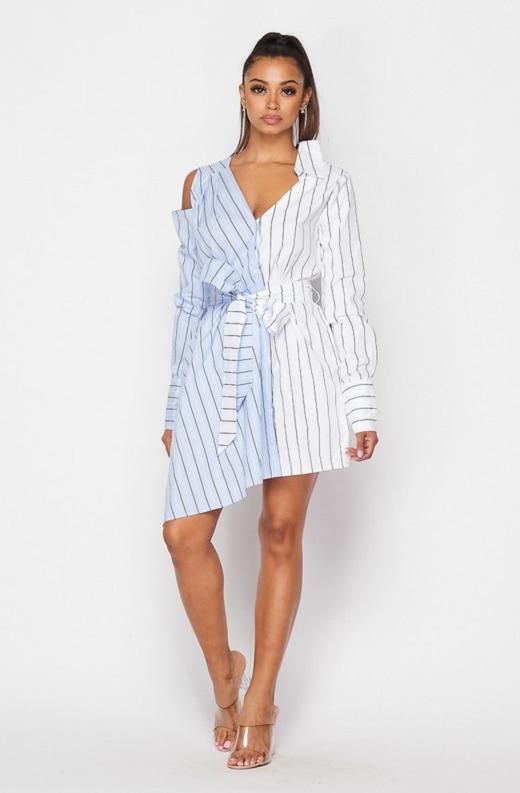 Blue Asymmetrical Trench Belted Shirt Dress 1
