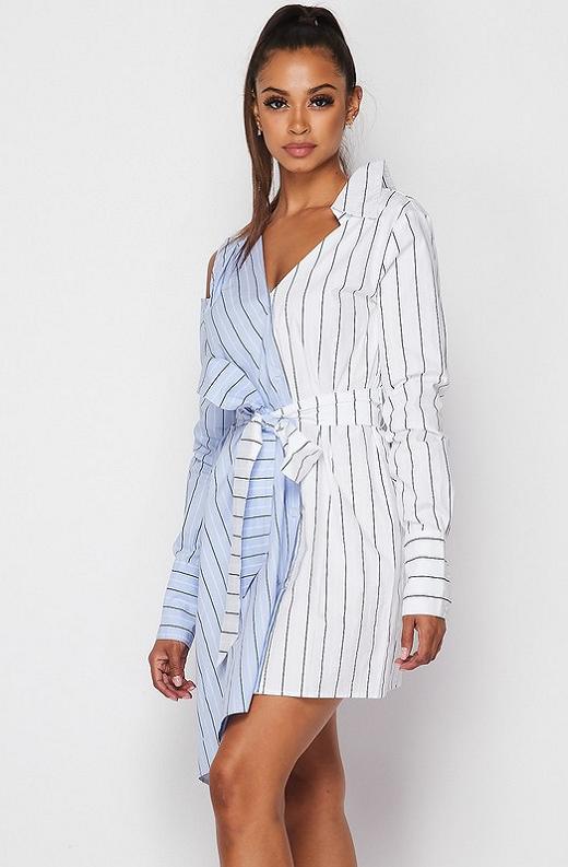 Blue Asymmetrical Trench Belted Shirt Dress 2