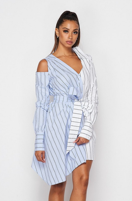 Blue Asymmetrical Trench Belted Shirt Dress 3