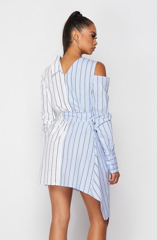 Blue Asymmetrical Trench Belted Shirt Dress 4