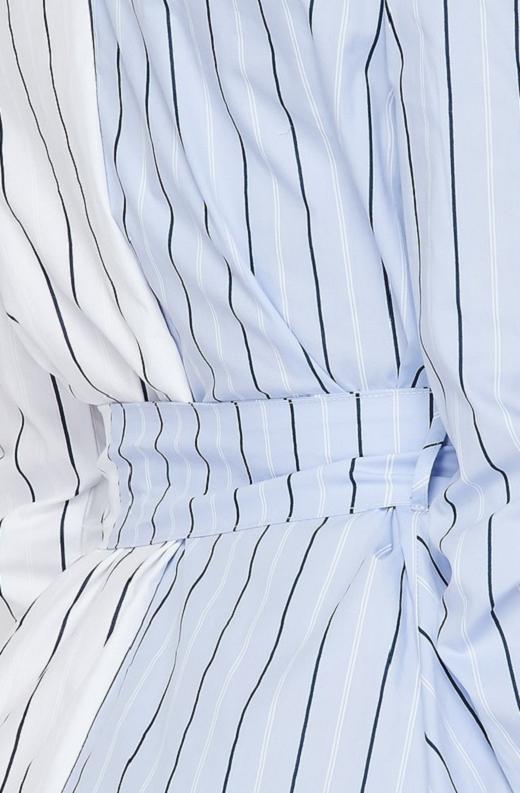 Blue Asymmetrical Trench Belted Shirt Dress 5