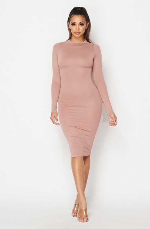 Blush Slim Fit Ruched Midi Dress 1