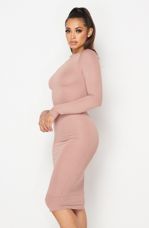 Blush Slim Fit Ruched Midi Dress 2