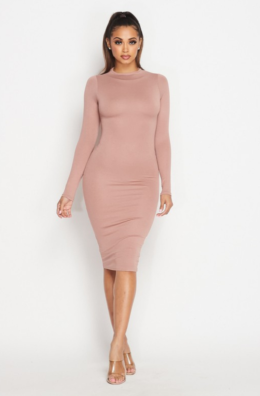 Blush Slim Fit Ruched Midi Dress 3
