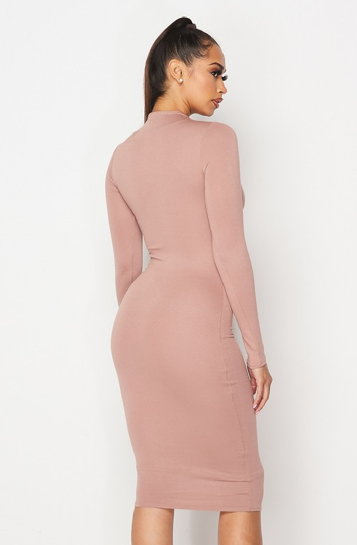 Blush Slim Fit Ruched Midi Dress 4