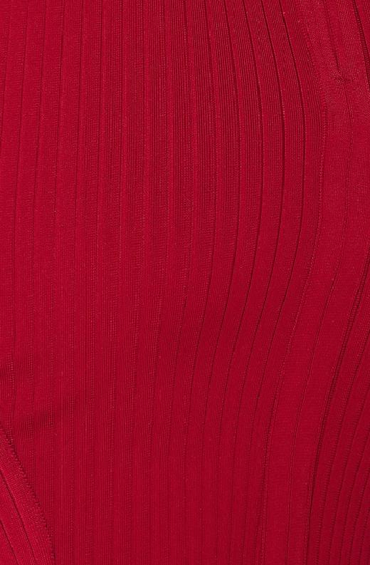Burgundy Ribbed Bodycon V Neck Hourglass Dress 3