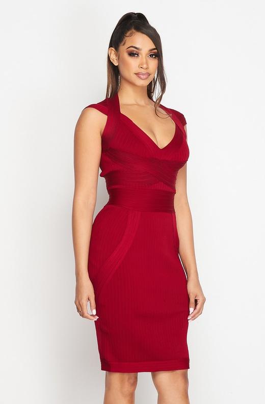 Burgundy Ribbed Bodycon V Neck Hourglass Dress 4