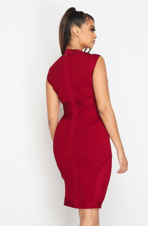 Burgundy-Ribbed-Bodycon-V-Neck-Hourglass-Dress-5