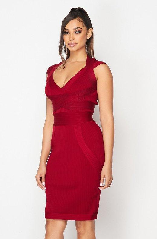 Burgundy-Ribbed-Bodycon-V-Neck-Hourglass-Dress-6