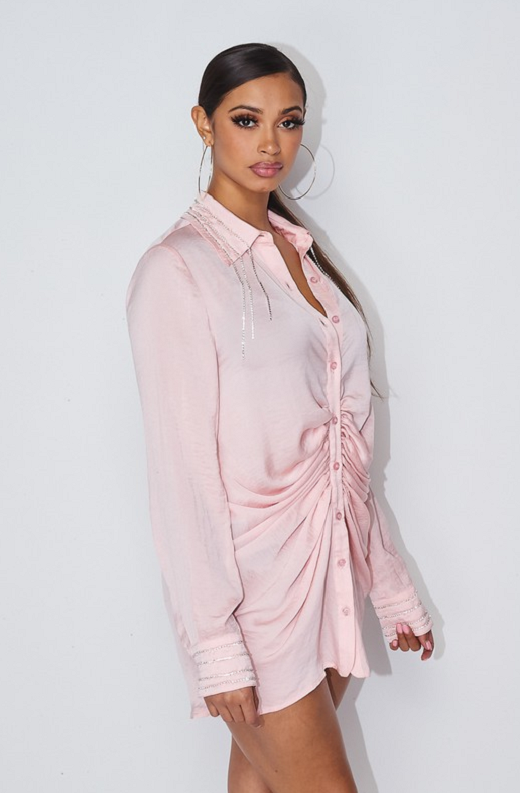 Dusty Pink Rhinestone Satin Shirt Dress 2