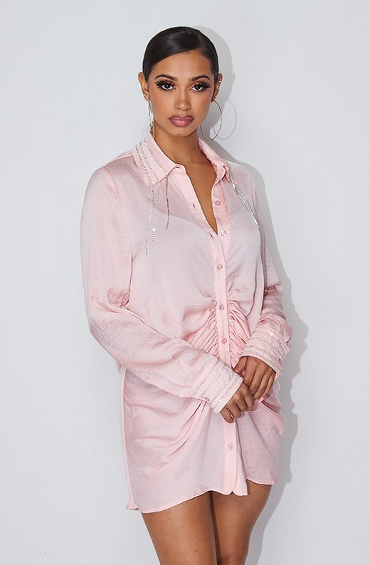 Dusty Pink Rhinestone Satin Shirt Dress 5