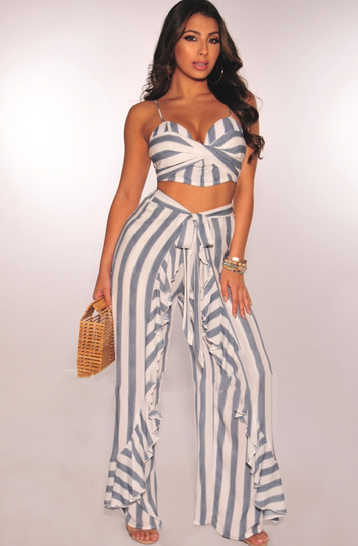 Faux Denim White Striped Padded Ruffle Palazzo Two Piece Set 2