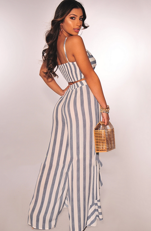 Faux Denim White Striped Padded Ruffle Palazzo Two Piece Set 4