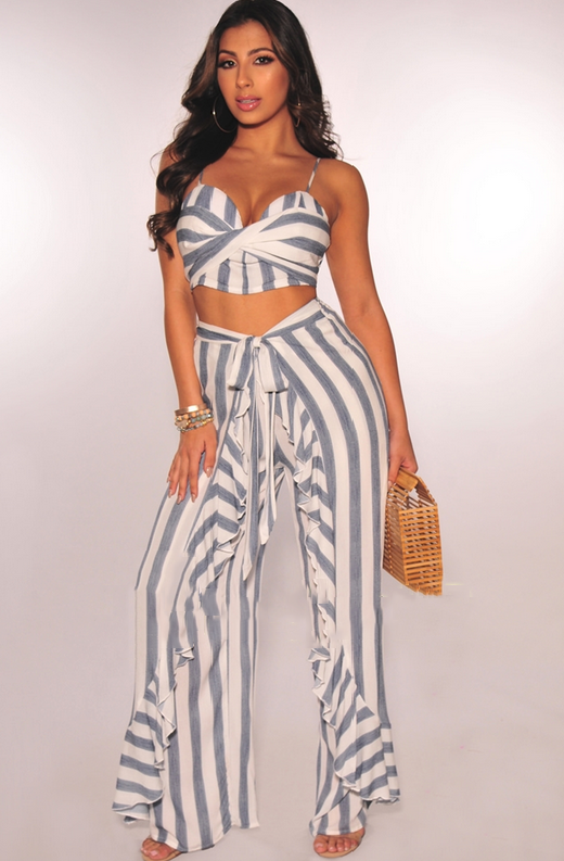 Faux Denim White Striped Padded Ruffle Palazzo Two Piece Set 5