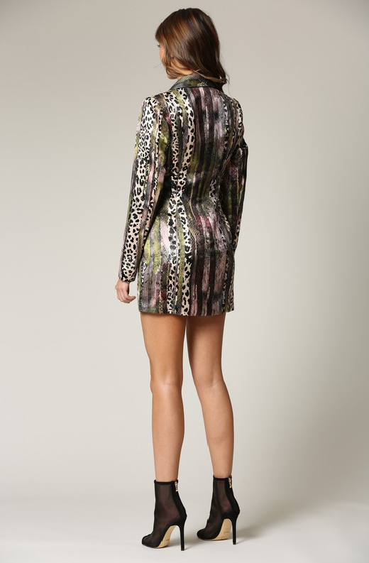 Forest Green Jacquard Blazer Dress 2