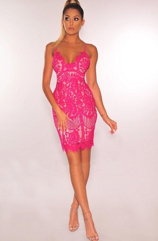 Fuchsia Nude Illusion Lace Dress 7