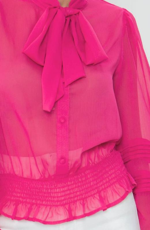 Fuchsia Sheer Mesh Bow Tie Smocked Waist Band Top 5