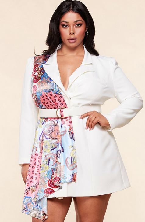 Scarf Blazer Belted Dress