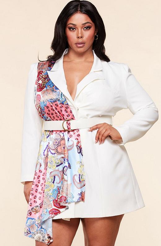 Ivory Floral Scarf Blazer Belted Dress Pluss Size 1