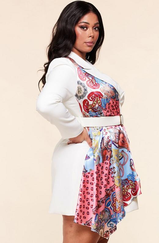 Ivory Floral Scarf Blazer Belted Dress Pluss Size 2