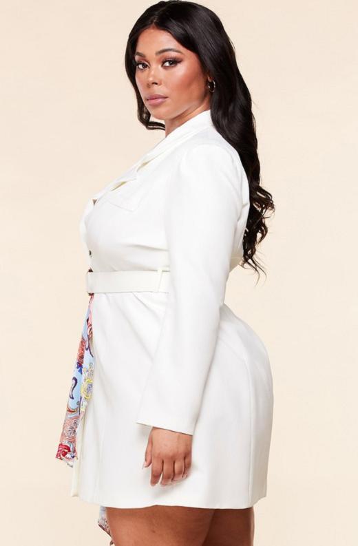 Ivory Floral Scarf Blazer Belted Dress Pluss Size 3