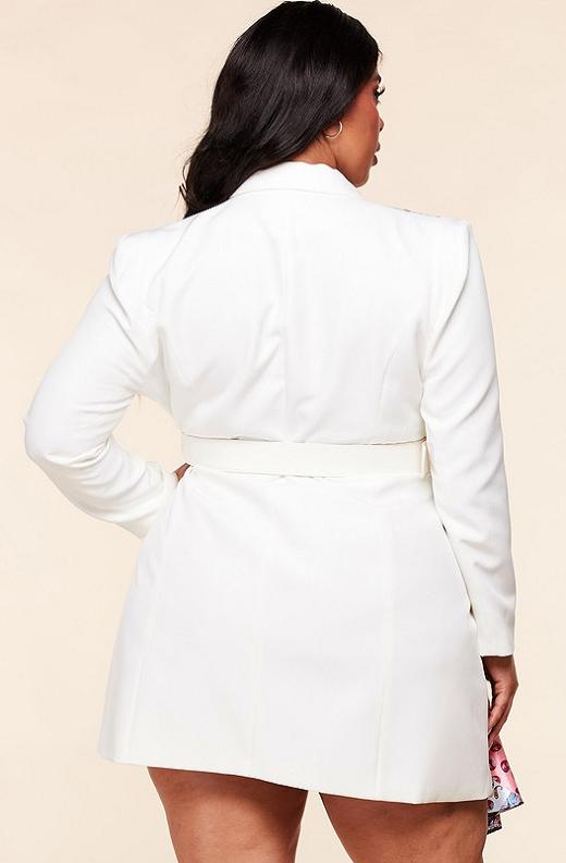 Ivory Floral Scarf Blazer Belted Dress Pluss Size 4