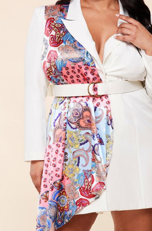 Ivory Floral Scarf Blazer Belted Dress Pluss Size 5