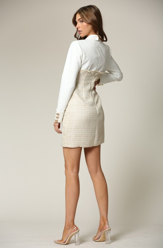Ivory Nude Two Tone Tweed Turtleneck Button Up Dress 1
