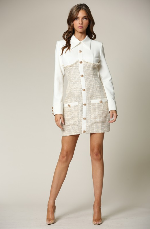 Ivory Nude Two Tone Tweed Turtleneck Button Up Dress 2