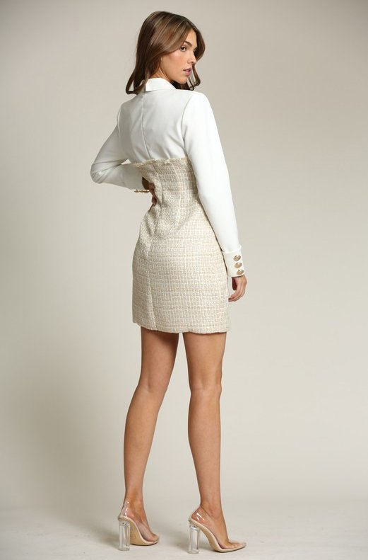 Ivory-Nude-Two-Tone-Tweed-Turtleneck-Button-Up-Dress-4