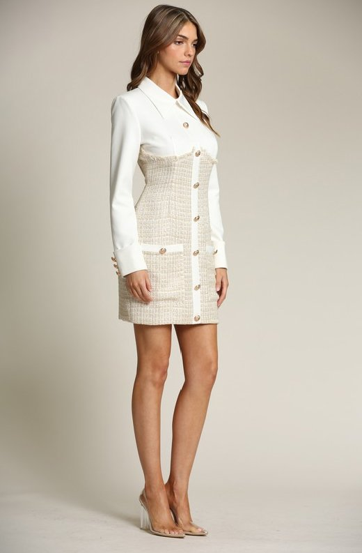 Ivory-Nude-Two-Tone-Tweed-Turtleneck-Button-Up-Dress-5